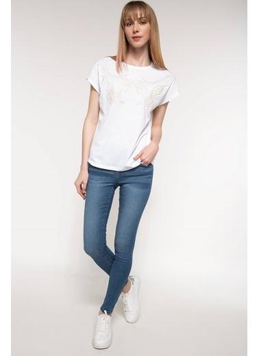 DeFacto Baskılı Tişört Beyaz